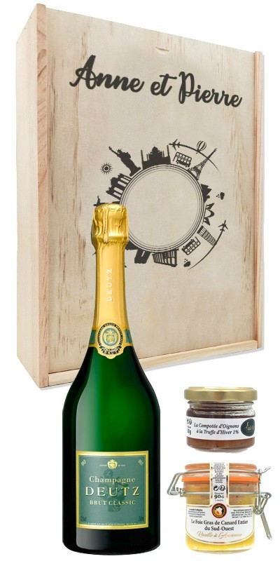 Coffret cadeau bois personnalisé Champagne Deutz + Kit Gourmand